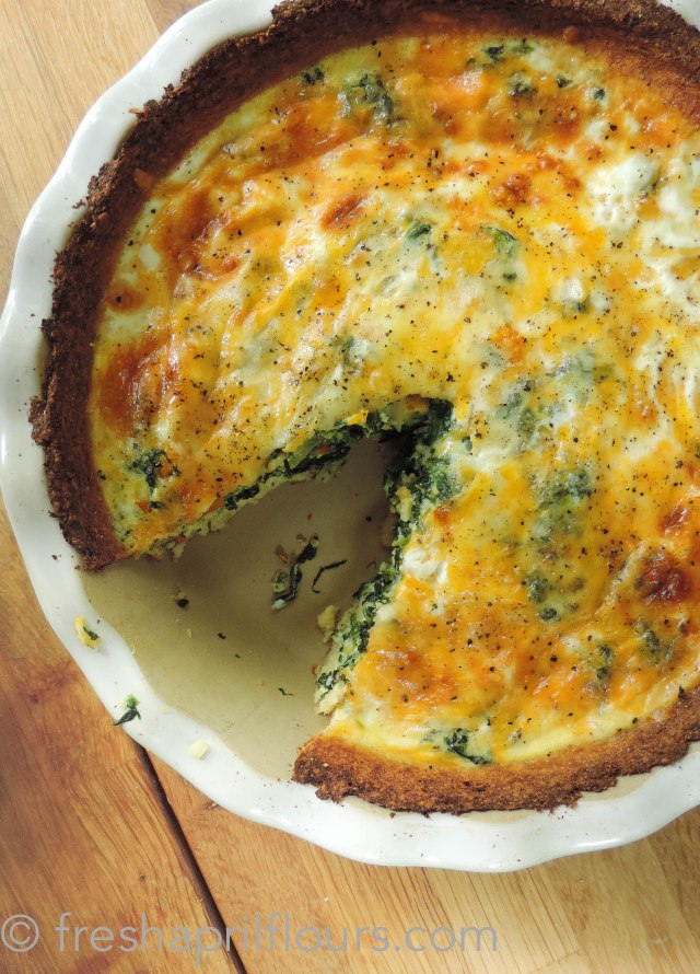 Fresh April Flours: Cheesy Vegetable Quiche with Cauliflower Crust